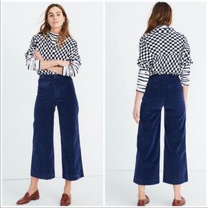 MADEWELL   Emmett Wide Leg Velvet Crop Pants 27 T